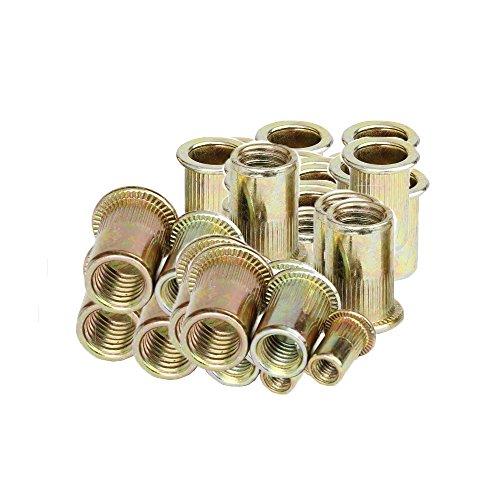 OxoxO 5 Type 100 Pieces Zinc Plated Carbon Steel Rivet Nut Insert Nutsert #8-32UNC #10-24UNC 1/4