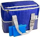 Glorytec Kühltasche blau - Große Isoliertasche 28x18,5x35cm 20 Liter – Faltbare Thermotasche Perfekt für Camping und Grillfeste – Lunch Bag
