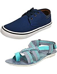 Earton Men combo pack of 2 Casual Shoes with Sandal