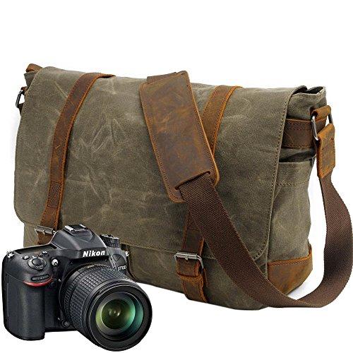 Neuleben Vintage Wasserdicht Kameratasche Aktentasche herausnehmbar Kamerafach Canvas Leder Umhängetasche Fototasche für DSLR Objektiv Laptopfach (Grün)