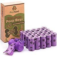 Pro Hund 300 Hundekotbeutel Biologisch Abbaubar mit Beutelspender und Leinenclip / Kotbeutel mit dezentem Lavendelduft / Lila Hundetüten