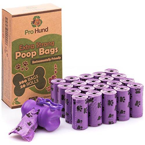 Pro Hund 300 Hundekotbeutel biologisch abbaubar mit Beutelspender und Leinenclip/Kotbeutel mit dezentem Lavendelduft/Lila Hundetüten -