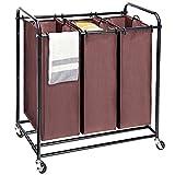 Umi. Wäschekorb Wäschesortierer Wäschebox Wäschewagen mit 3 × Sortierer Fächer und 4 Rädern, 2 abschließbar Braun