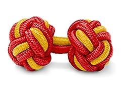 Idea Regalo - THE SUITS CREW Gemelli Nodo Seta - Eleganti Gemelli Stoffa Camicia Da Uomo o Donna - Polsini - Bottoni Particolari - 1 Paio in Rosso - Giallo