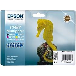 Epson - Multipack - Pack composé de 6 cartouches séparées : T0481 Noir - T0482 Cyan - T0483 Magenta - T0484 Jaune - T0485 Cyan Clair - T0486 Magenta Clair - Compatible Epson Stylus Photo R200/R300/RX500/RX600/RX620