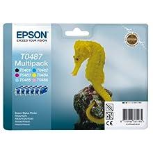 Epson Original T0487, Black, Cyan, Magenta, Yellow, Light Cyan, Light Magenta, Pack of Six, Genuine