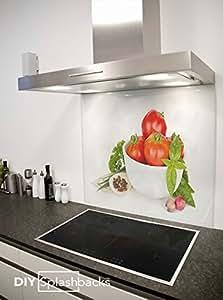 Crédence de cuisine en Verre Imprimé Bol de Tomates 90cm x 75cm (Colle inclus)