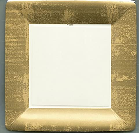 24 Disposable Square Paper Plates - Gold Leaf/Ivory (10