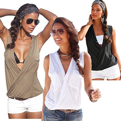 BININBOX Damen Shirt ärmellos mit V-Ausschnitt Oberteile Tops Weiß Schwarz Grau Schwarz