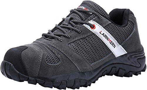 LARNMERN Sicherheitsschuhe Herren,LM-18 Arbeitsschuhe Stahlkappe Stahlsohle Anti-Rutsch Industrie und BAU Schuhe Atmungsaktiv Komfortabel (42, Grau)