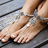 Bodhi2000 2 Piece Boho Vintage Barefoot Anklet Bracelet Feet Chain Jewelry