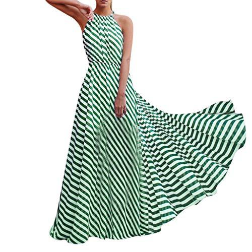 Kleid Damen Sommer Elegant Sling Party Dress Cocktail Frauen Sex äRmellose Gestreifte Lose Kleid Beach Party Maxi Lange Sommerkleid Grün XL - Für Grüne Kleider Cocktail Frauen