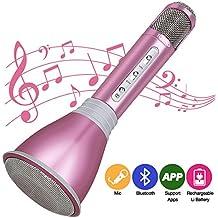 Micrófono Inalámbrico Portátil Bluetooth 3.0 Altavoz Incorporado para Karaoke Batería de 1800mAh 3.5mm AUX Compatible con PC/ iPad/ iPhone/ Smartphone (Nuevo Rosa)