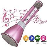 Tragbares Karaoke Spieler Drahtloses Mikrofon mit Bluetooth Lautsprecher für Party, Podcast,Zuhause,KTV, Singen kompatibel mit IOS Apple iPhone iPad Android Smartphone PC(Pink)
