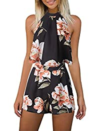 2f6764a2bf Gorgeya Women s Sexy Sleeveless Halterneck Floral Print Beach Romper Shorts  2 Piece Mini Playsuit
