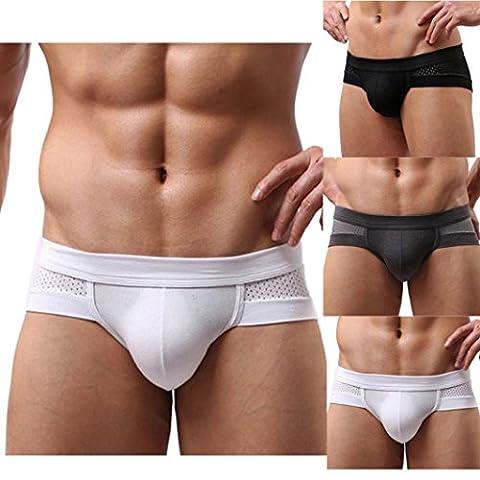 Sansee Männer sexy Cotton Unterwäsche Männer Boxer Unterhose Soft Slips (XXXL, weiß) (Kurze 3er-pack Panty)