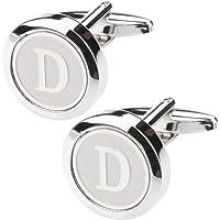 albetro Personalized Round Letter D Copper Cufflinks for Men