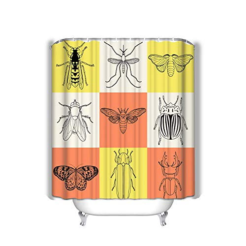 BAOLANZHANG Shower Curtain Insect Icons Set cicada Stag Beetle Firefly wasp Fly paperkite Butterfly Colorado Beetle Mosquito Colorful 60 * 72 inch
