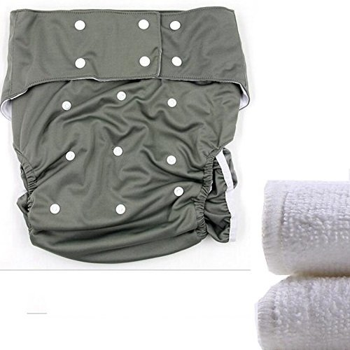 lukloy–Teen/adultos pañales de tela con insertos de 2pcs para cuidado de incontinencia–Dual Apertura bolsillo lavable ajustable reutilizable leakfree gris