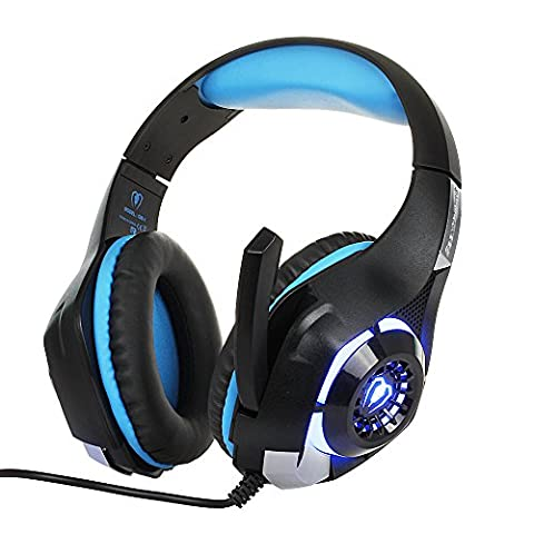 Top-Spring PS4 Headset Gaming Headset Earphone Headband with Microphone LED Light for PS4 PlayStation 4 / PC Gaming Gamer / Laptop / Mac iPhone, Headset Splitter (Black-blue)