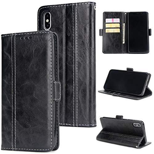 Chenjuan retro patchwork design a 2 colori per iphone xs max custodia a portafoglio con magnete in pelle pu all-inclusive (colore : nero)