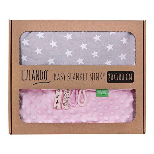 LULANDO Babydecke Kuscheldecke Krabbeldecke aus 100% Baumwolle (80x100 cm). Super weich und flauschig. Kuschelige Lieblingsdecke für Ihr Baby. Farbe: Pink - White Stars / Grey