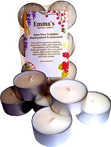 natürlichen geruchloses Sojawachs Teelicht Kerzen 6Pack von Emma 's So Naturals (100% Soja-kerze Reines)