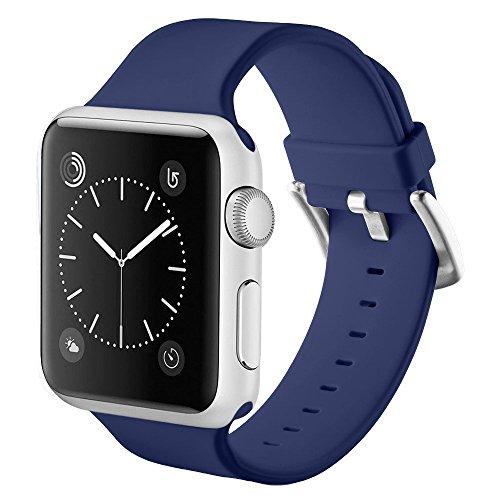 Apple Watch Correa, Sanday Silicona Suave Reemplazo de Banda Sport Band para Apple Watch Series 3,Series 1/Series 2 (42MM M/L, Azul marino)