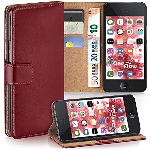 moex Apple iPhone 5S | Hülle Dunkel-Rot mit Karten-Fach 360° Book Klapp-Hülle Handytasche Kunst-Leder Handyhülle für iPhone 5/5S/SE Case Flip Cover Schutzhülle Tasche