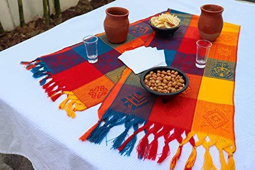 äufer - Bohemian Tischläufer - Boho Rainbow Aztec Läufer - Serape bunt gestreift Baumwolle Läufer für mexikanische Fiesta Dekorationen und für Hochzeit Dekor Orange Blau Gelb ()