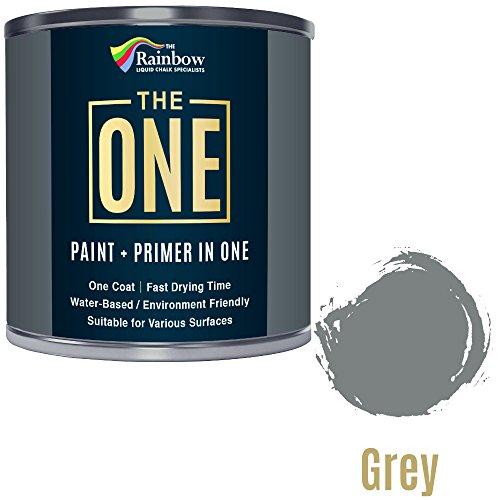 Una pintura, una capa, Multi superficie pintura para madera, metal, plástico, interior, exterior, gris, satén, 250ml