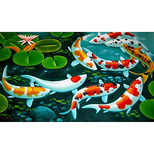 DIY 5D Diamond Painting by Number Kit for Adult,Full Drill Diamond Painting Koi Fish,Embroidery Cross Stitch Arts Craft Home Wall Decoration,31.5×15.7in (Stitch Cross Koi Fish)