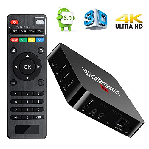 Android TV BOX, Wishpower New Android 6.0 Smart TV Box Quad Core 1GB RAM + 8GB ROM 4K HD Streaming Media Player TV Box with WiFi, HDMI, DLNA