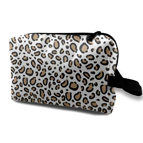 Leopard Animal Print with White Background Natural Tan Cheetah Spots Travel Makeup Cute Cosmetic Case Organizer Portable Storage Bag for Women Leopard Cheetah Spots