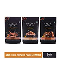Masala Tokri Meat Curry, Biryani, Pav Bhaji Masala, 125 Gram Each (Pack of 3)
