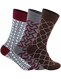 Supersox Men's Regular Length Pack of 3 Combed Cotton Design Socks (Combo1)