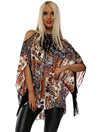 0a5e6b4a88abf My Story Rust Paisley Halterneck Fringe Top