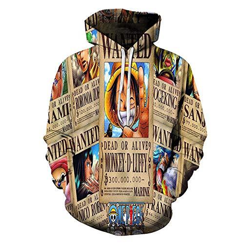 Jonyn 3D Hoodie Sweatshirt mit Kapuze Freizeit Langarm Pullover Unisex HD Druck (XXS-XXXL) One Piece