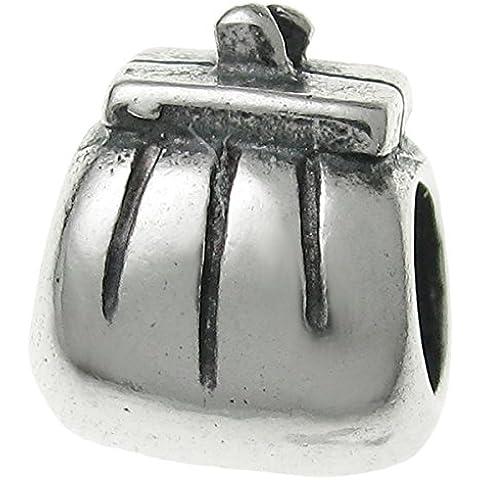 Da donna in argento Sterling 925Frizione Borsa Portafoglio, perline per braccialetti