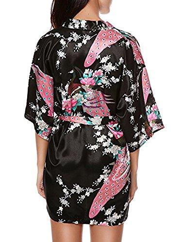 JLTPH Damen Morgenmantel Kimono Robe Bademantel Nachtwäsche Satin mit Peacock und Blüten entwerfen knielangen Robe 7