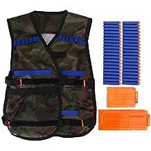 Tbest Kit de Chaqueta de Chaleco Táctico para Niños para Nerf Gun N-Strike Elite