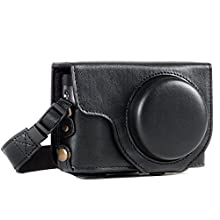 MegaGear MG1258 Ever Ready Leather Camera Case compatible with Panasonic Lumix DC-TZ95, DC-TZ90 - Black