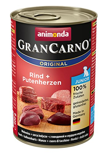 animonda GranCarno Hundefutter Junior, Nassfutter für Hunde im Wachstum, Rind + Putenherzen, 6 x 400 g