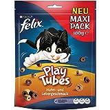 Felix Play Tubes Huhn & Leber Katzensnacks Beutel, 5er Pack (5 x 180 g)