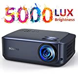 Proiettore video 50000 ore, supporta 1080P Full HD Home Theater, 5000 Lumen, proiettore LCD LED per film intrattenimento giochi, supporta HDMI VGA AV USB Micro SD