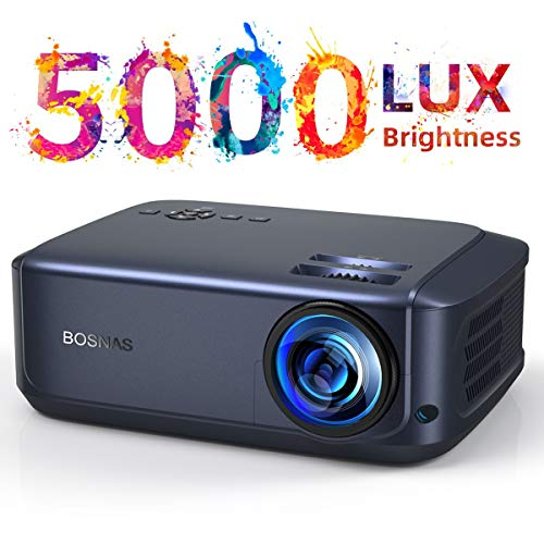 Video Beamer 50000 Stunden, unterstützt 1080P Full HD Heimkino Beamer,5000 Lumen LCD LED Projektor für Film Unterhaltung Spiele Reisen, unterstützt HDMI VGA AV USB Micro SD