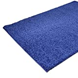 Shaggy-Teppich | Flauschige Hochflor Teppiche fürs Wohnzimmer, Esszimmer, Schlafzimmer oder Kinderzimmer | Einfarbig, schadstoffgeprüft, allergikergeeignet (Blau, 160 cm rund)