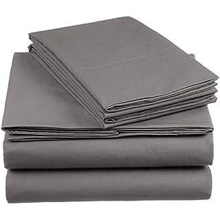 AmazonBasics Everyday Duvet Set with 2 Pillowcases, King - Dark Gray