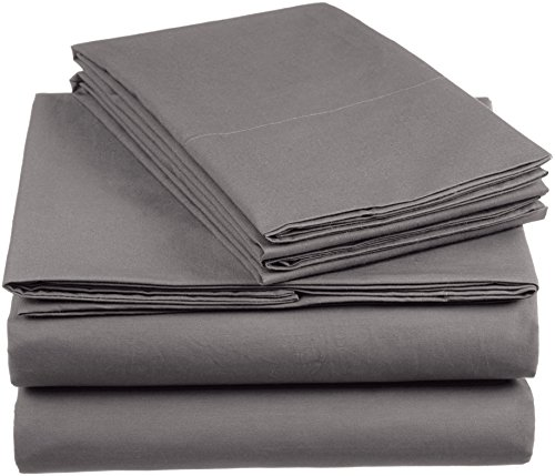 AmazonBasics 'Everyday' Bettwäscheset aus 100% Baumwolle, Dunkelgrau 200x200cm & 2 Kissenbezüge 80x80cm