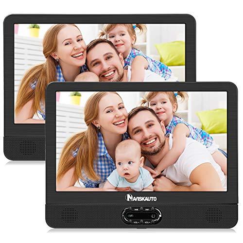 """NAVISKAUTO 12\"""" Tragbarer DVD Player für Auto Großer Kopfstütz Monitor 1024 * 600 mit Akku 180°Schwenkbarer Deckel USB/SD AV IN/Out"""